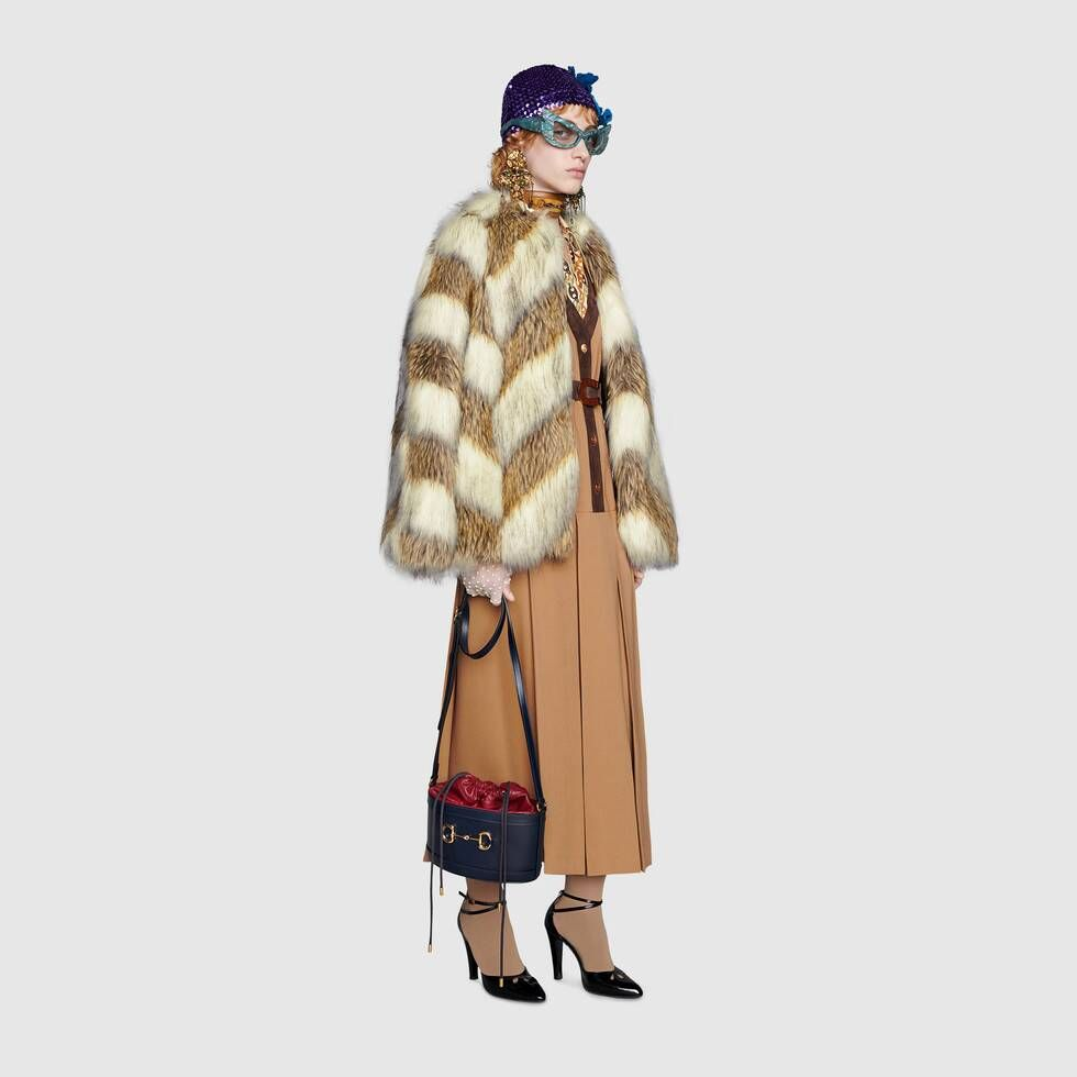 Shop The Faux Fur Jacket With Chevron Intarsia In Brown At Gucci Com Enjoy Free Shipping And Complimentary Gift Wr Coats For Women Designer Outfits Woman Coat [ 980 x 980 Pixel ]