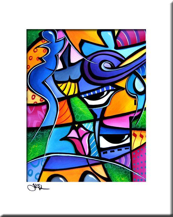 Peinture abstraite moderne pop Art print décor par fidostudio