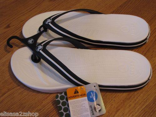 e1cc66b44 Men s Adult Crocs crocband flip flop flipswitch RARE 12 relaxed fit white  black