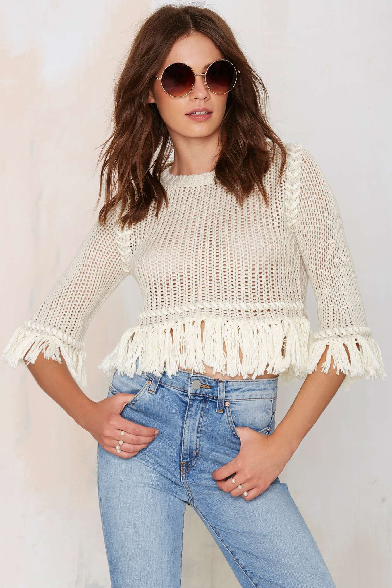 Knitz by For Love and Lemons Denver Fringe Crop Sweater | Shop Clothes at Nasty Gal!
