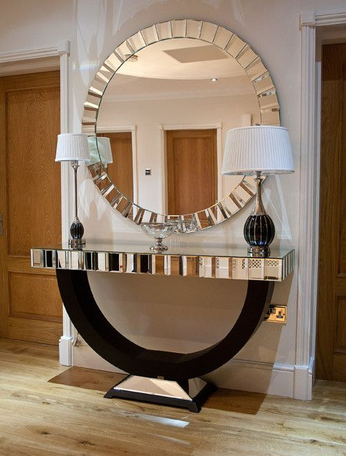 Quartz Black Mirrored Console Table Dressing Table Art Deco Home