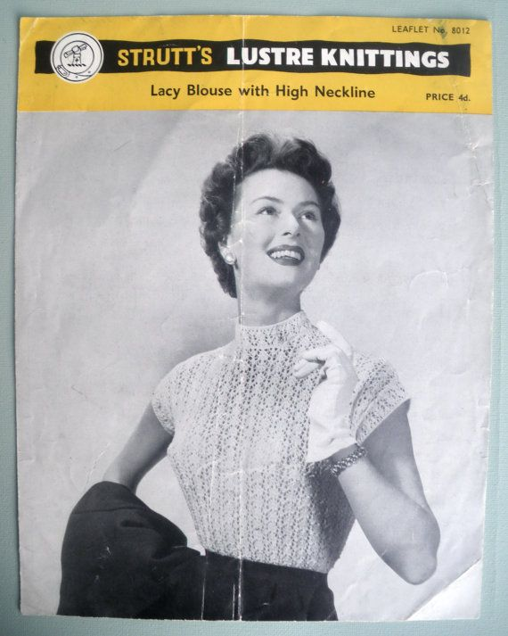 9a8f64c7195f Vintage Knitting Pattern Sleeveless 50s Blouse The - OneLetter.CO
