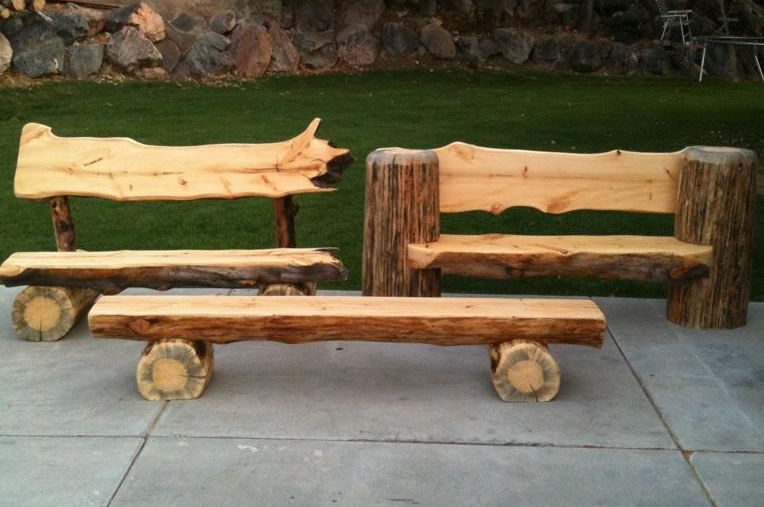 Benches Made Of Warehouse Logs Just Finished Sawing Log