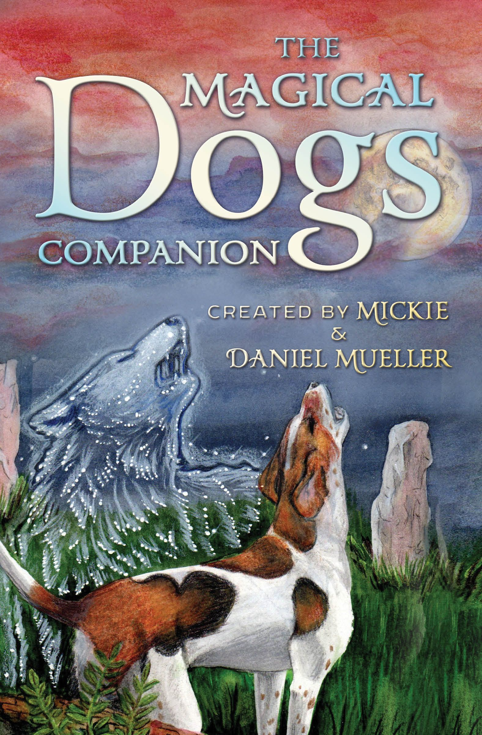 The book cover for magical dogs tarot the moon of course