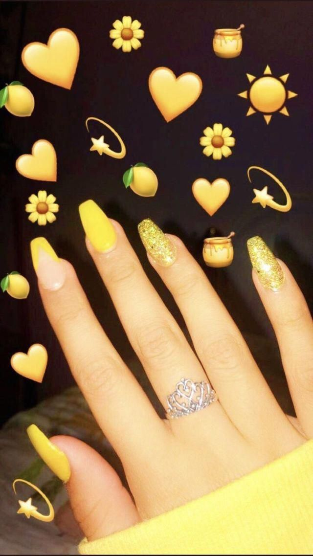Yellow Coffins Nails With Glitter Fakenails Acrylic Nails Yellow Yellow Nails Cute Acrylic Nails
