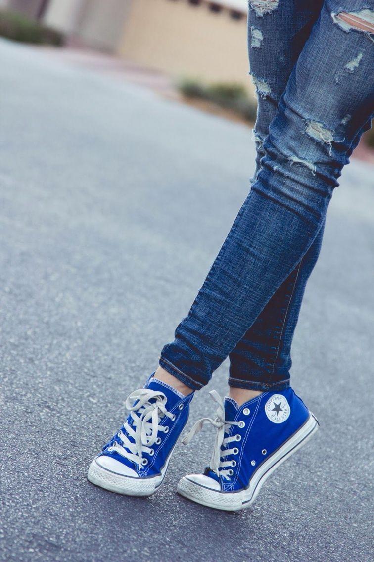 High Top Bright Blue Converse All Star