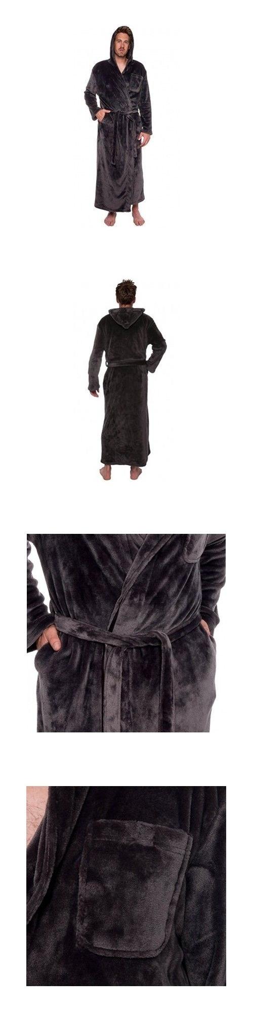 3f1f2fcde3 Sleepwear and Robes 11510  Men S Gray Hooded Bathrobe 3Xl Soft Plush Full  Length 59