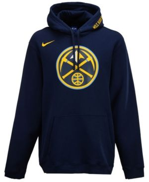 Nike Men S Denver Nuggets City Club Fleece Hoodie In Navy Modesens Fleece Hoodie Nike Men Hoodies