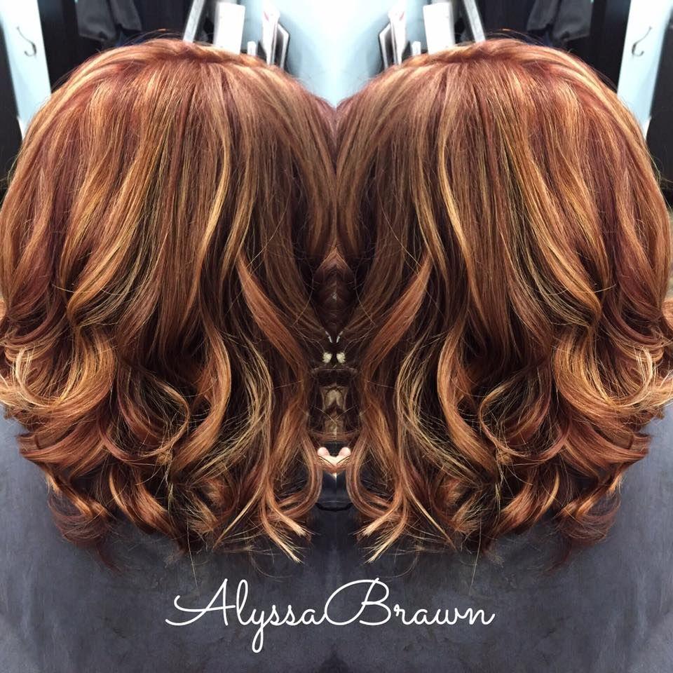 Long Bob Short Hair Red Hair Caramel Blonde Highlights Auburn