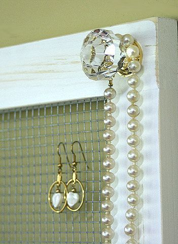 Jewelry Holder Organizer Crystal Knobs Necklace Holder Earring DIY