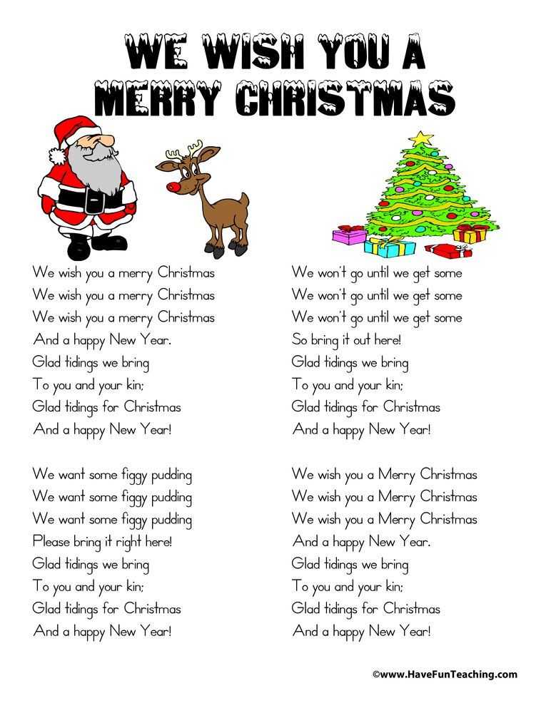 Christmas Worksheets Have Fun Teaching Christmas Lyrics Christmas Worksheets Wish You Merry Christmas