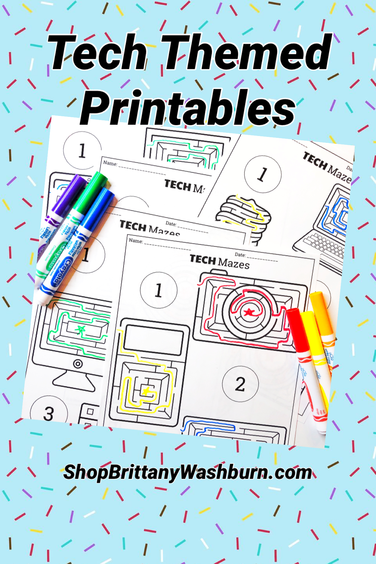 Unplugged Technology Themed Maze Worksheets Freebie In