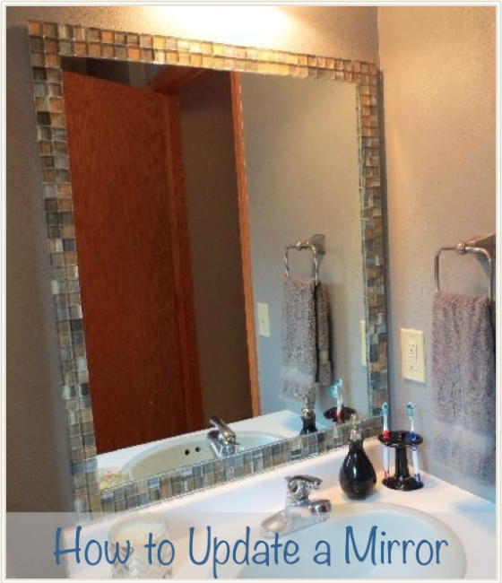 How To Remove A Large Bathroom Mirror: Easy Builder Grade Mirror Update! Tile Mirror For Under