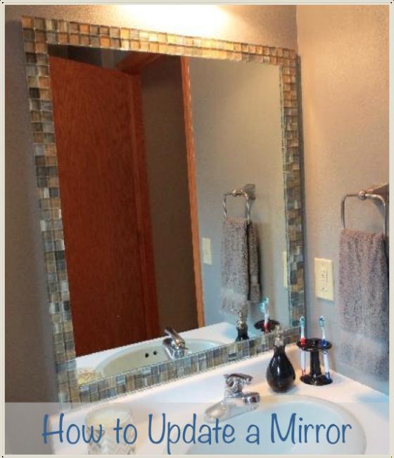 Easy Builder Grade Mirror Update! Tile Mirror For Under $20  Http://thenewlywednotebook