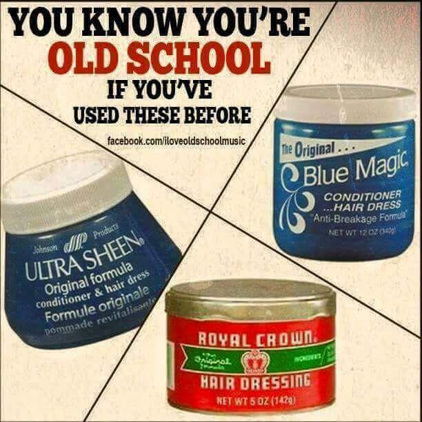 [Press, Curl, Straight, Pigtails, Ponytails, & Braids. Those were the days before we knew! 😂 My Grandma had Royal Crown lol. Gotta love em #throwbacks]