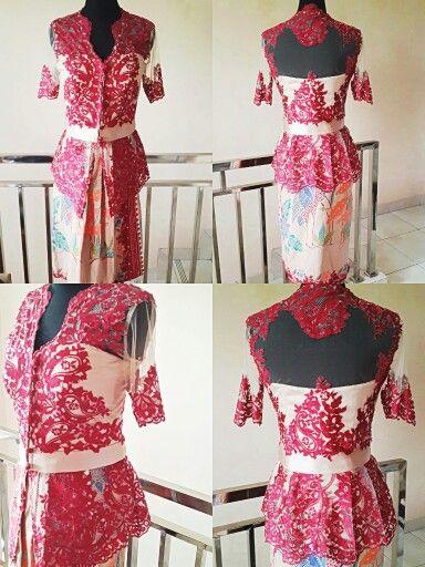 Photo of Lookin for graduation 'kebaya ?' Red kebaya with short batik skirt. Nude…