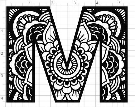 mandala alphabet letter m design svg pdf eps dxf studio 3 cut files products mandala art. Black Bedroom Furniture Sets. Home Design Ideas