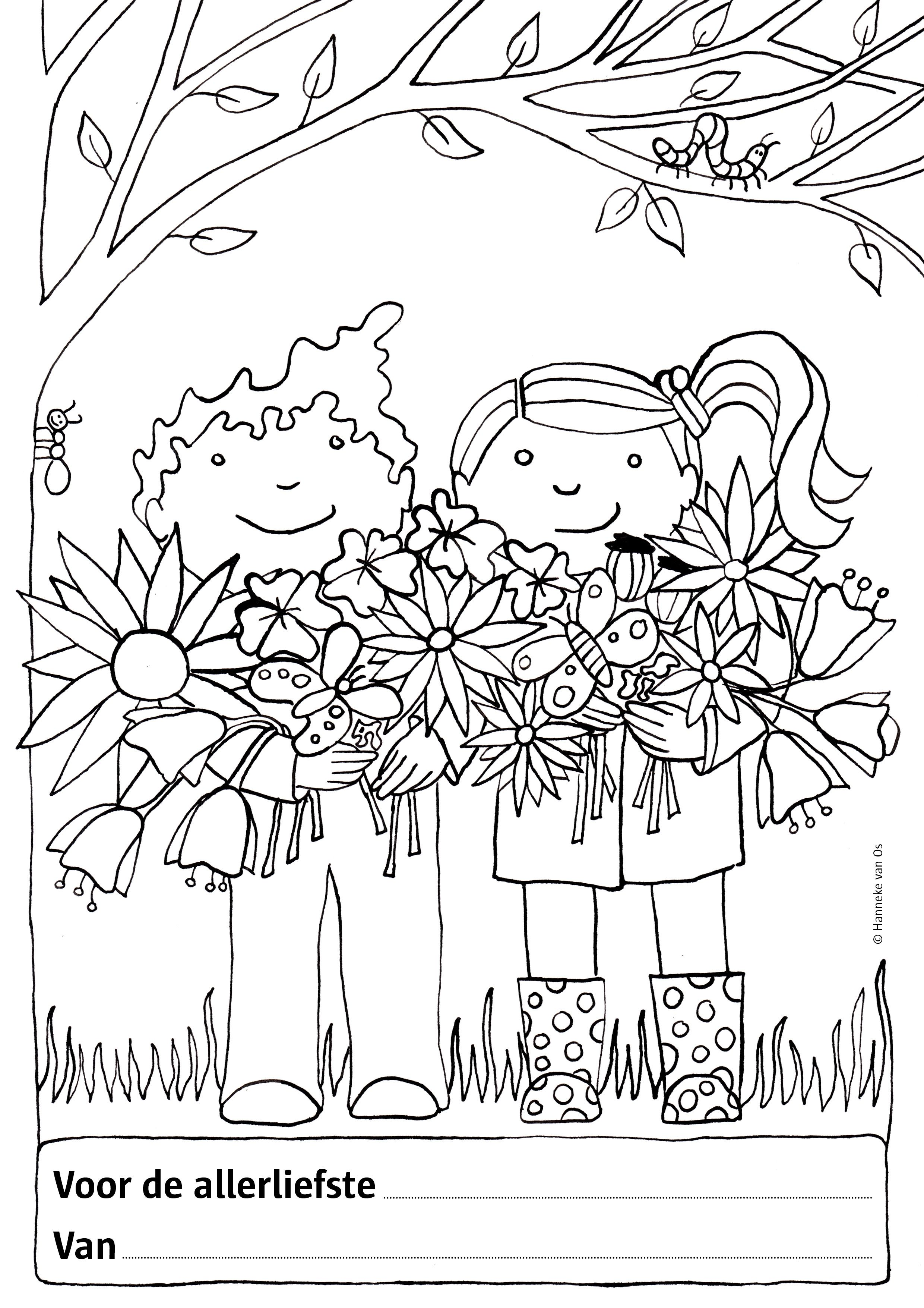 Kleurplaat Lente Kleurplaten Illustratie Moederdag