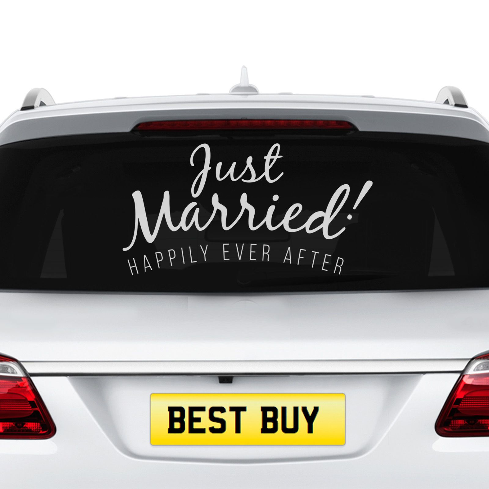 Wedding car decorations just married  Just Married Wedding Car Removable Decal Vehicle Sticker Window