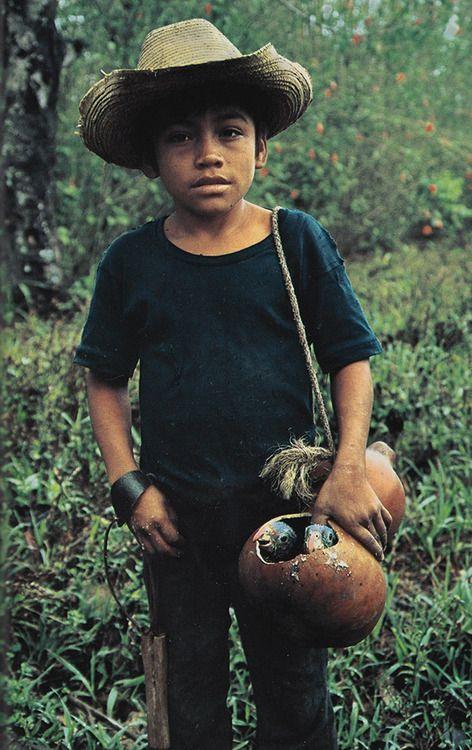 a Young Guatemalan sells parrot chicks along the Usumacinta National Geographic October 1985   David Hiser