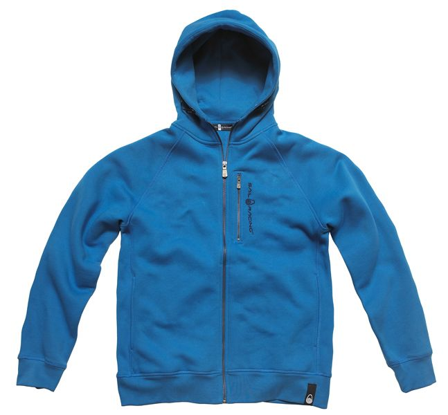 SR ZIP HOOD STRIKE BLUE    Our classic hood in cotton/polyester fleece.     • Cotton/poly fleece  • Slanted side seam  • Sail Racing embroidery at chest and at back