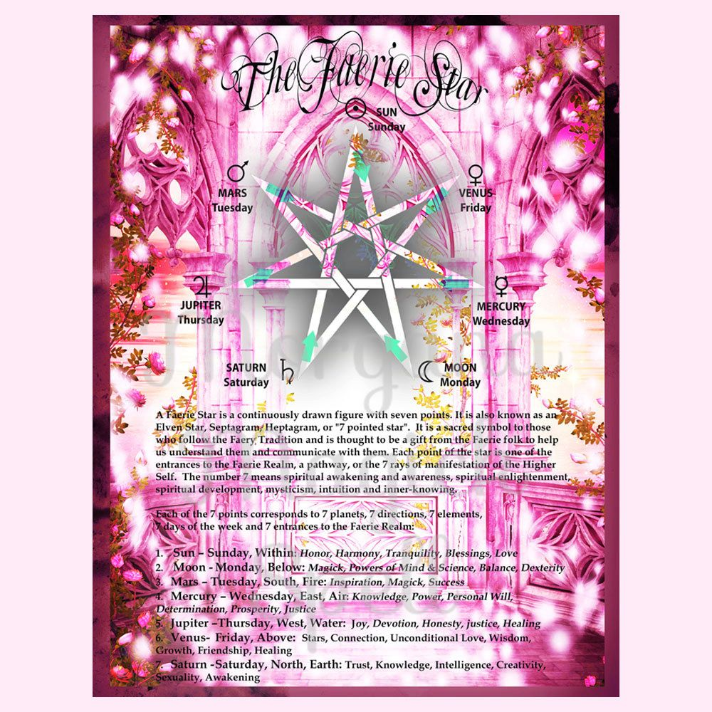 The FAERIE STAR ELVEN Star Septagram Digital Download Faerie Book Of Shadows Page Grimoire
