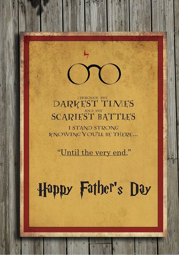 photo relating to Harry Potter Birthday Card Printable called Printable Harry Potter Fathers Working day Card through
