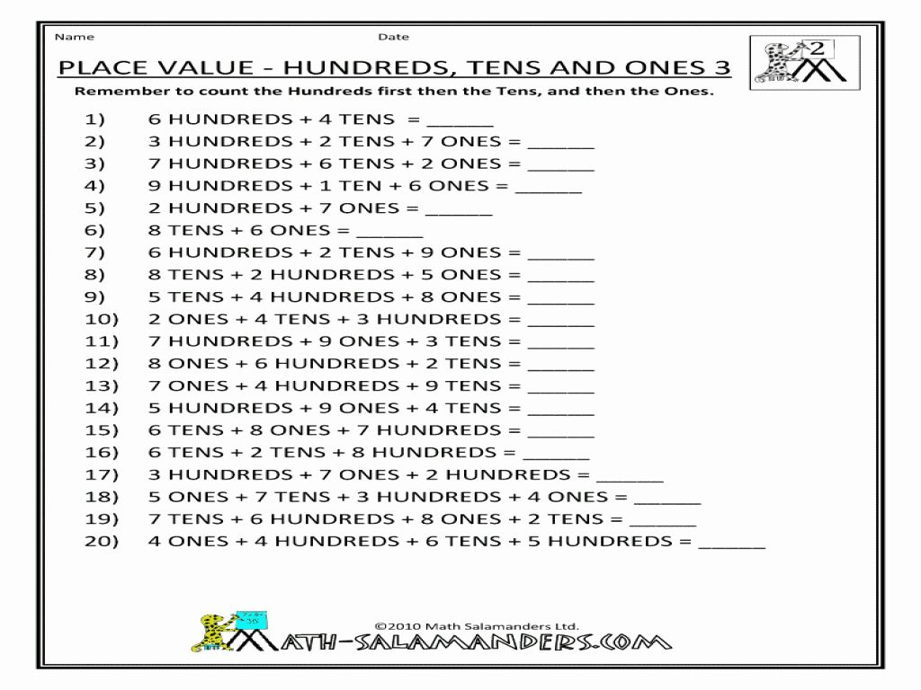 Ones Tens Hundreds Worksheet Elegant Place Value Hundreds