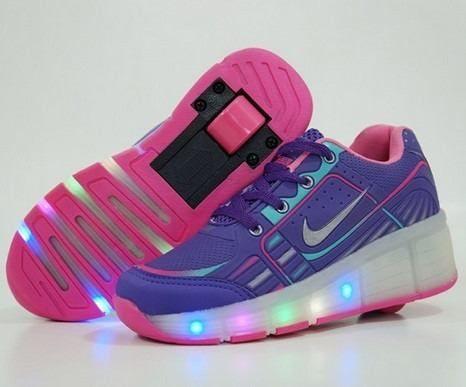 1ca220062 tênis infantil de rodinha led nike rosa e roxo frete grátis ...