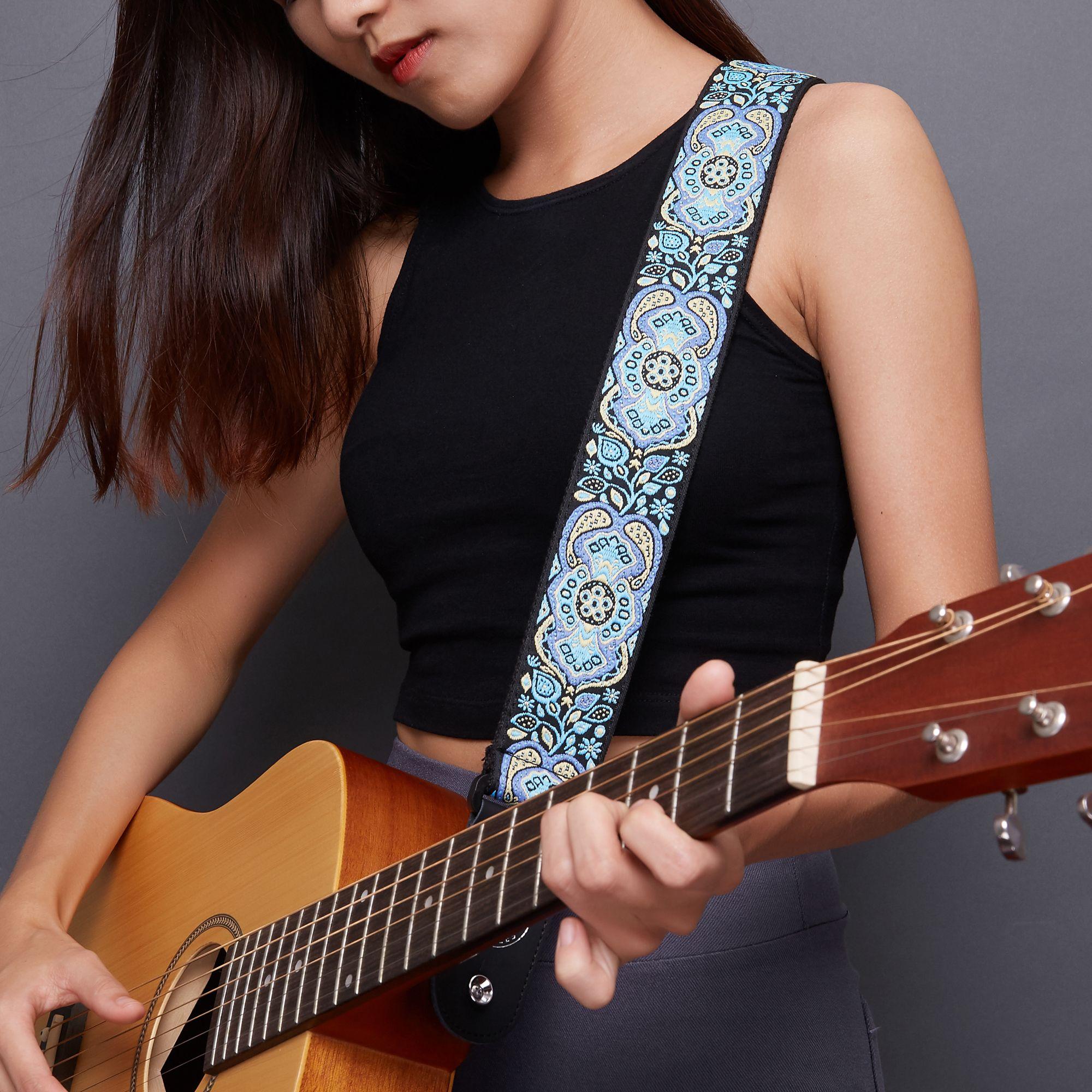 Amumu Adjustable Jacquard Retro Style Polyester Guitar Strap Blue High Quality Material Woven Cotton Top Polyester W Guitar Strap Guitar Guitar Strap Vintage