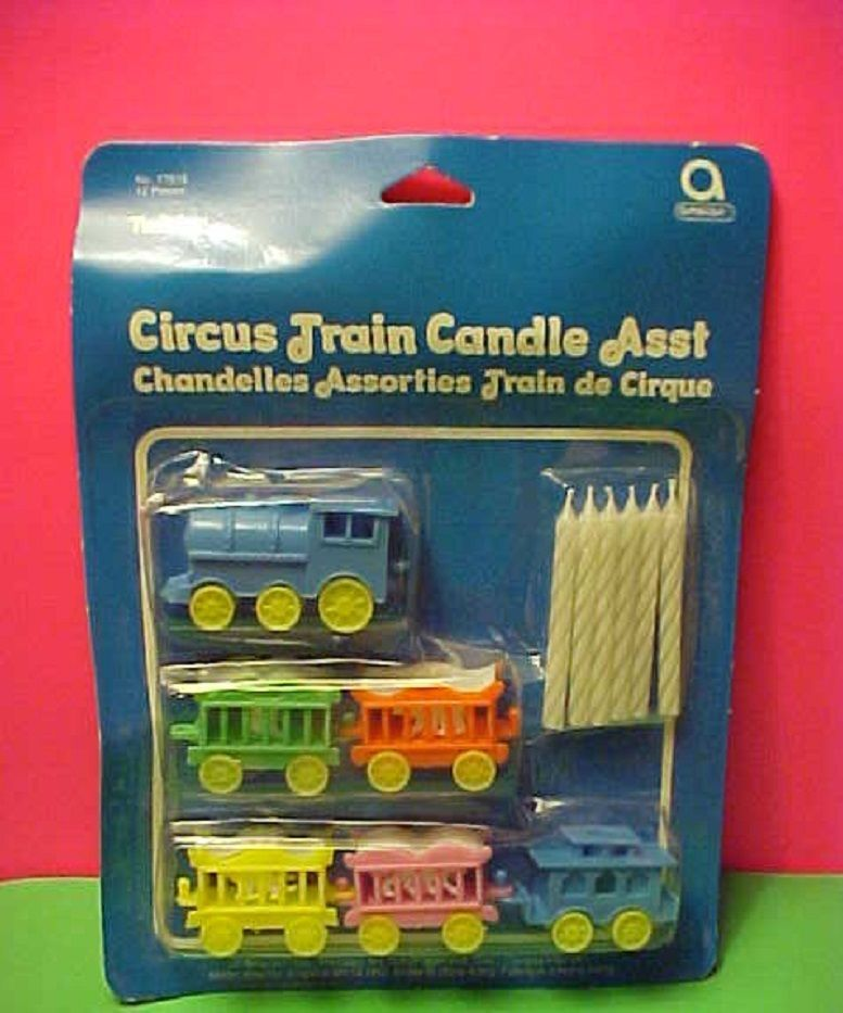 Vintage Sealed Birthday Cake Candle Holders Plastic Toppers Circus Train