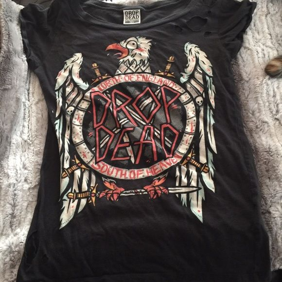 Dropdead Eagle T shirt This is one of my favorite dropdead items! It purposely has a distressed look! Very flattering! One of my favorite fall pieces!!! No trades Dropdead Tops Tees - Short Sleeve