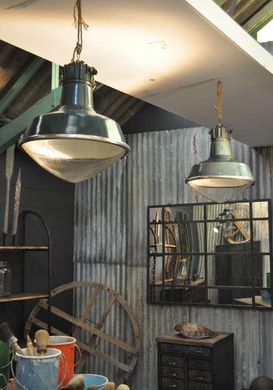 Pair Of Huge French Vintage Sammode Industrial Pendant Lights