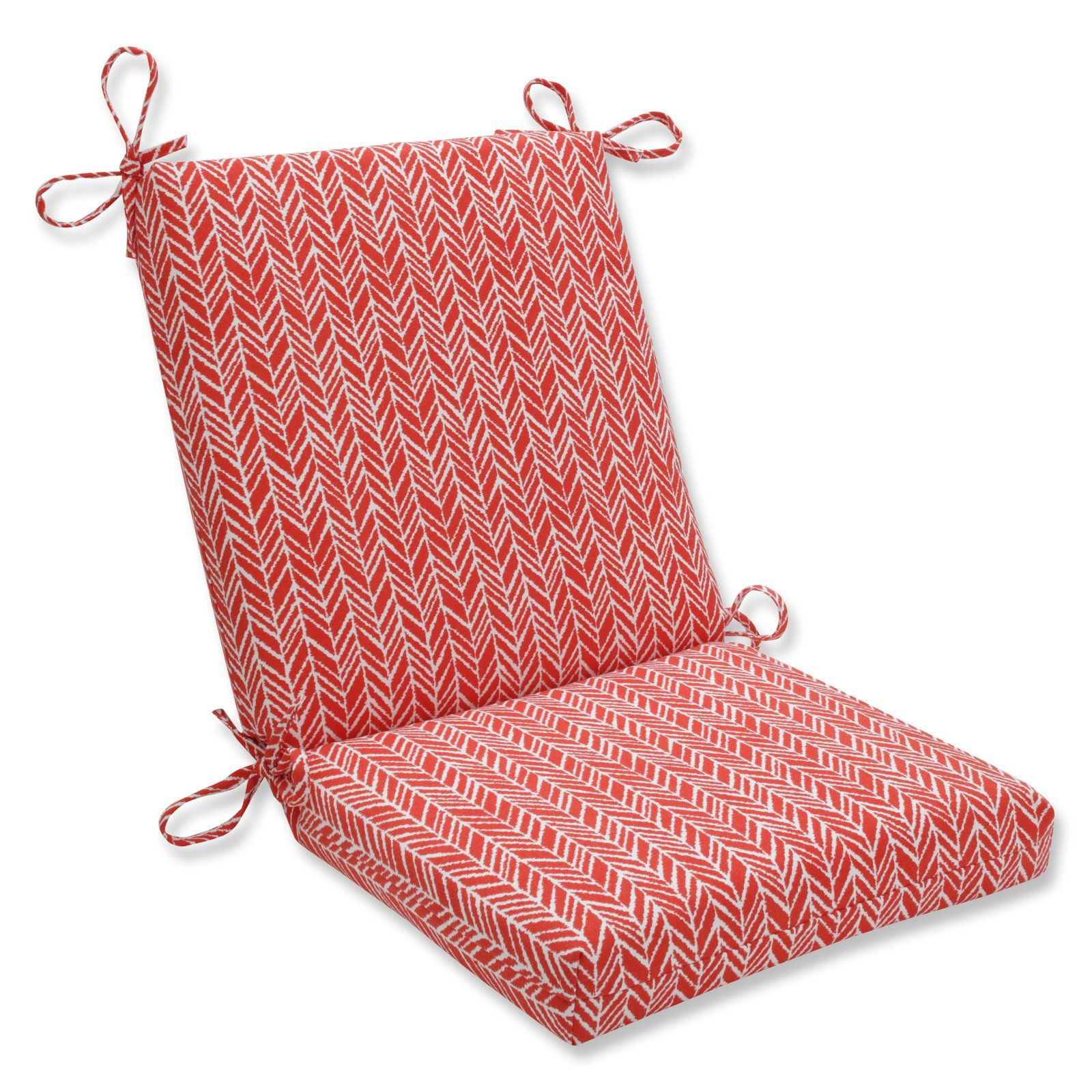 Pillow Perfect Herringbone Indoor Outdoor Squared Corners Chair