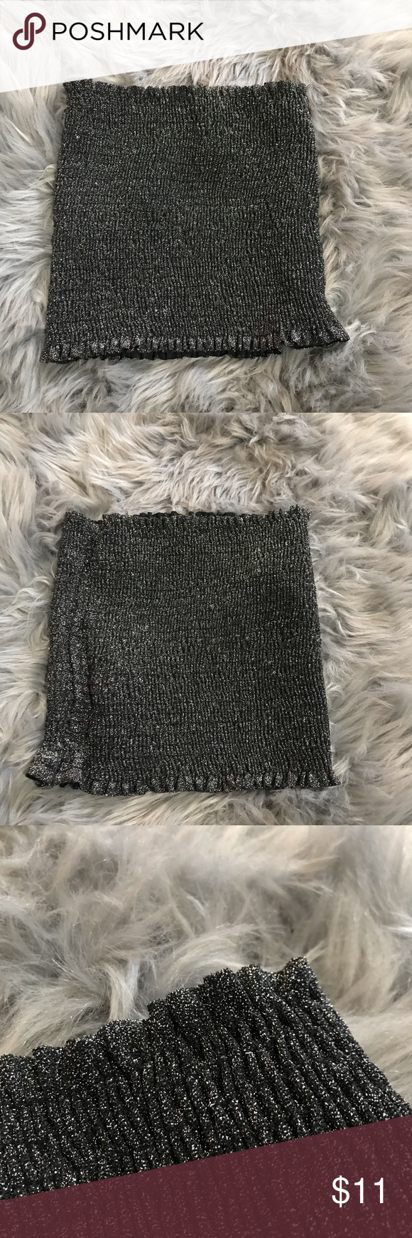 89558d61da8 Black sparkly tube top✨ Black tube top with silver sparkles Scrunch  material