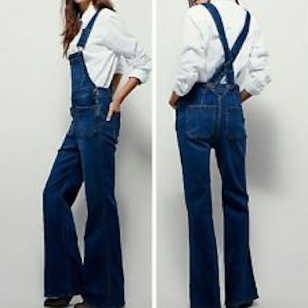 Free People Blue Teague Retro Denim Overalls, Stretch Cotton Blend, Size 29/8 #FreePeople #FlareOverallsRelaxed