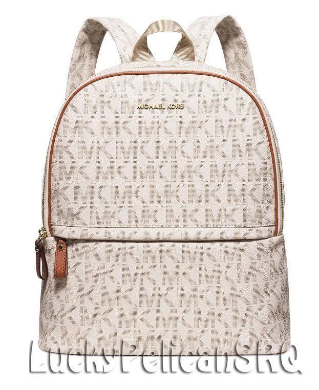 Michael Kors MK Signature PVC Large Backpack Vanilla Beige NWT  MichaelKors   Backpack 6c5b3232f8