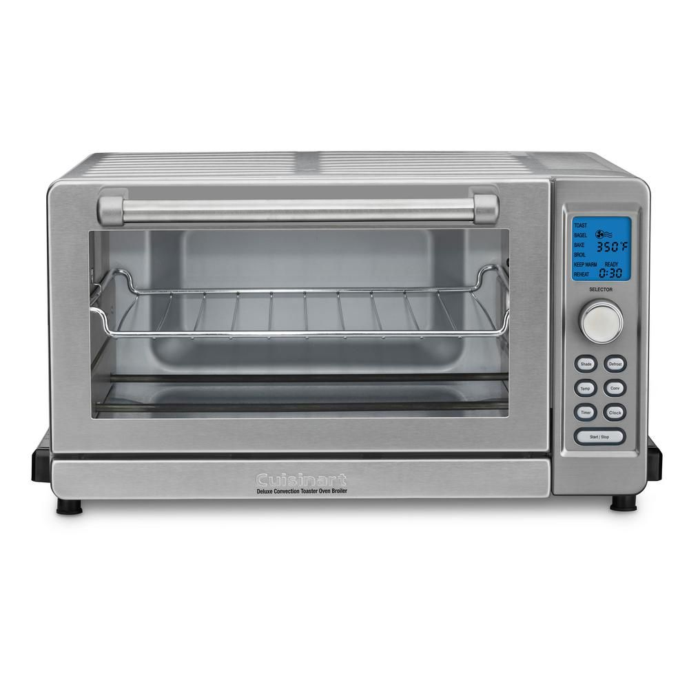 Cuisinart Deluxe 1800 W 6 Slice Stainless Steel Toaster Oven With Lcd Display Tob 135n The Home Depot Convection Toaster Oven Toaster Oven Toaster