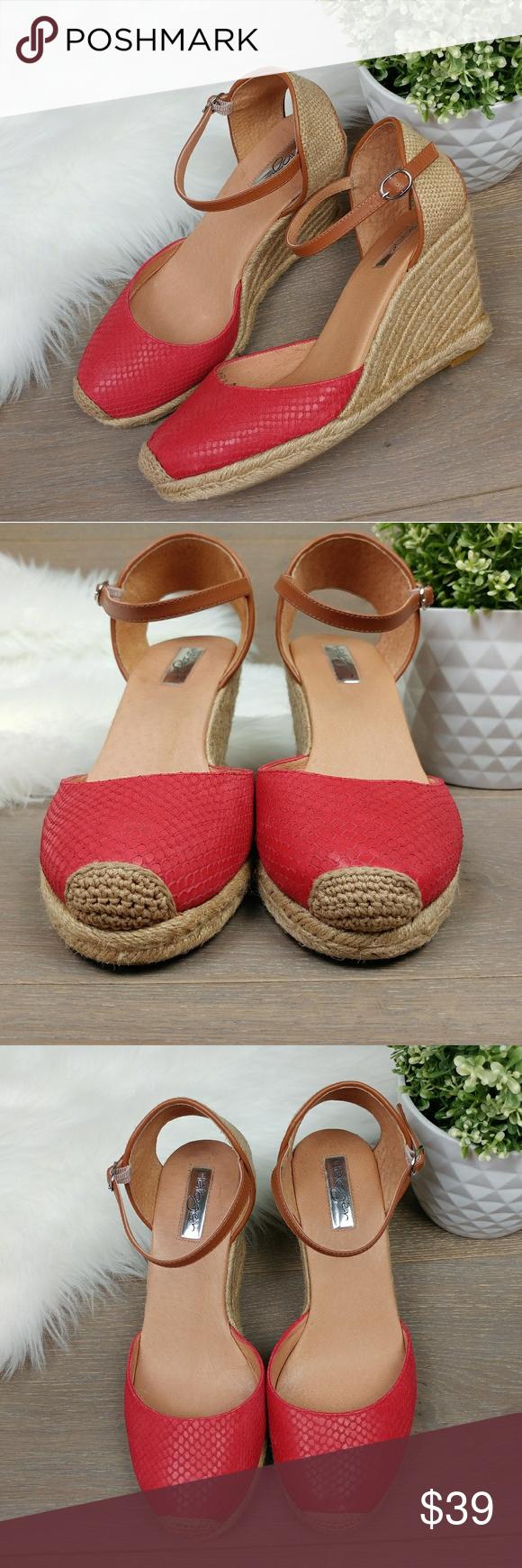 ffb2dd3072a9 Halogen Sandra Wedge Espadrilles Red leather Halogen Sandra Wedge  Espadrilles Red leather Size 8.5 3 1