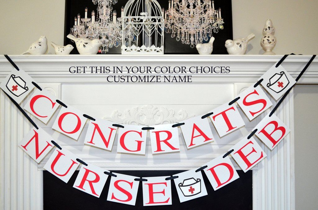 Congrats Nurse Graduation Banner Congrats Nurse Banner Nurse Graduation Decorations Congrats Name Banner Rn Graduation Nursing Graduation Party Graduation Party Supplies Graduation Banner