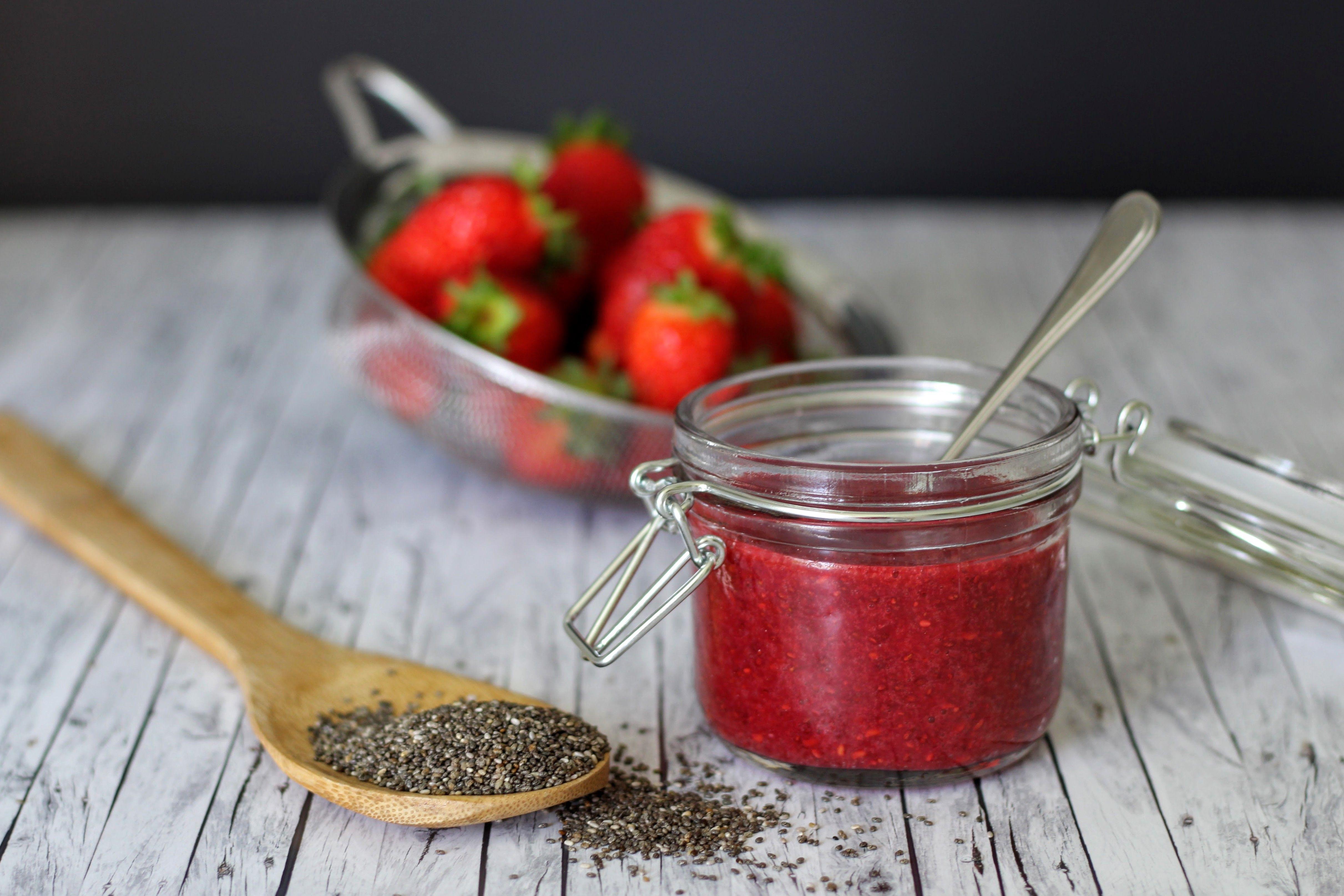Vegane und zuckerfreie Erdbeer-Marmelade