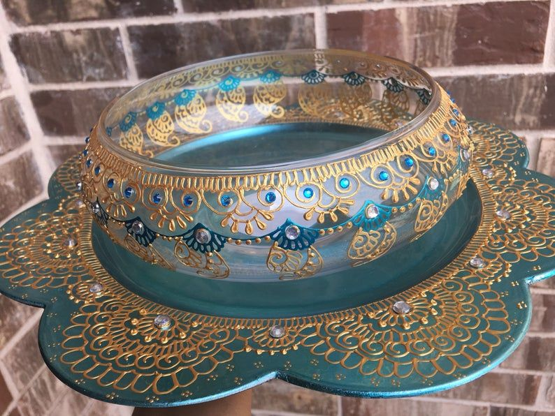 Gorgeous Set of glass bowl and chargerparty decorhome decor   Etsy