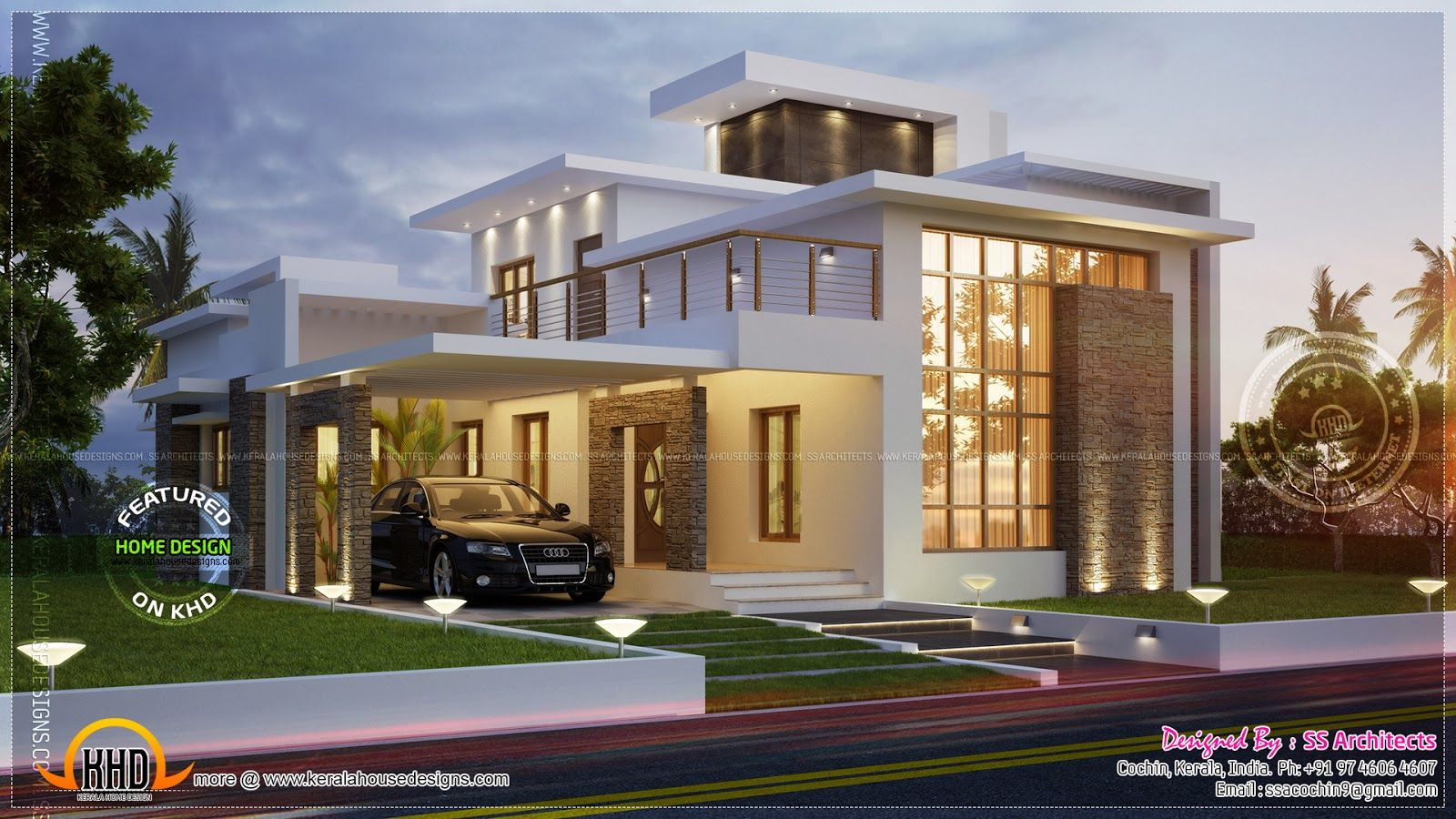 Sq feet contemporary house kerala home design floor plans for Contemporary building elevation