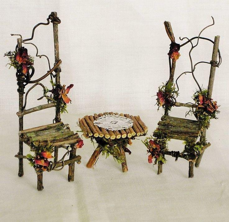 Details about Miniature Garden Leaf Table & Chairs 3 pc. set Woodland Fairy Garden Furniture #gedecktertisch