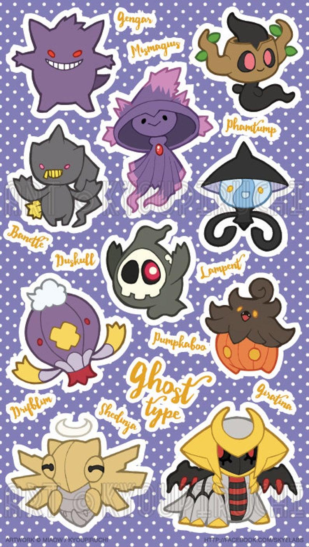 Ghost Type Pokemon Sticker Sheet – Pokemon Type Series