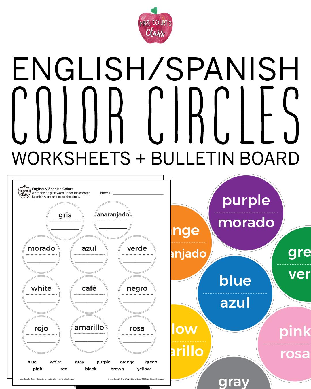 English Spanish Color Worksheet Bulletin Board Spanish Colors Bulletin Board Sets Color Worksheets [ 1350 x 1080 Pixel ]