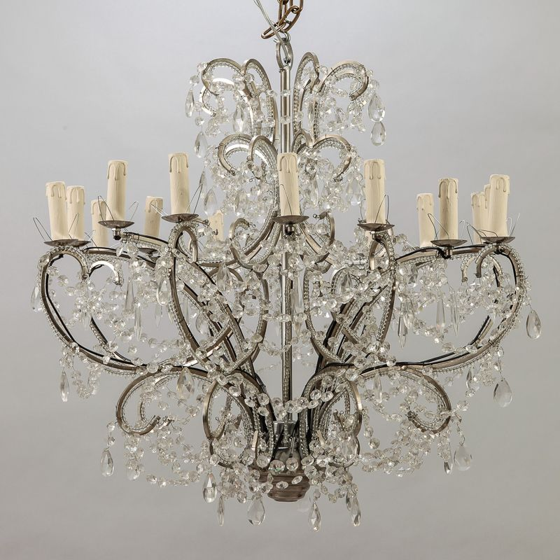 Sixteen Arm Silver Metal Highly Beaded French Chandelier Item