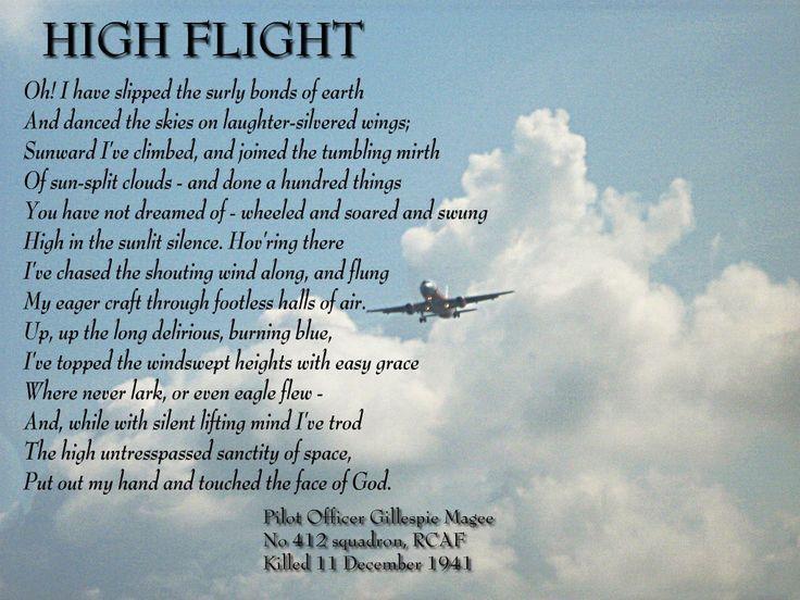 High Flight By John Gillespie Magee Jr High Flight Poem