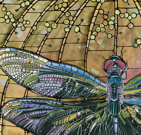 Aceo Dragonfly Art Nouveau Original Stained Glass By