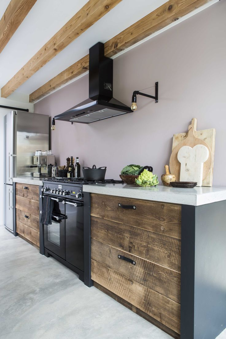 Kuche Mit Beton Arbeitsplatte Und Recycling Holz Lades Diana Van Den Baumbaume Wohnung Kuche Kuche Beton Haus Kuchen
